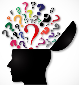 head with brain opening and question marks coming out